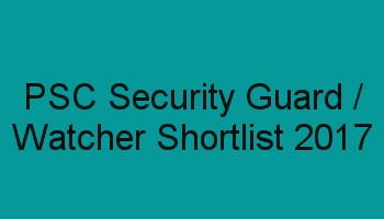 PSC Watcher Shortlist / Ranklist