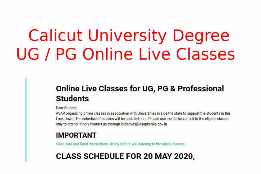 Calicut University UG/PG Live Classes - ASAP Online Class
