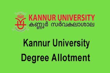 Kannur University Degree Allotment 2020