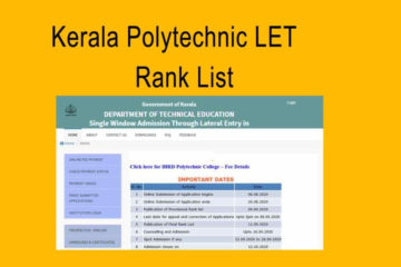 Polytechnic LET Rank List - Lateral Entry Admission Allotment